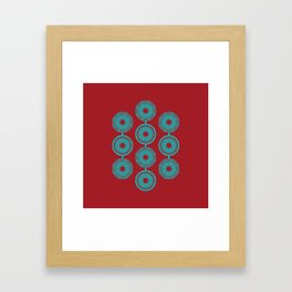 turquoise and vermilion flower Framed Art Print