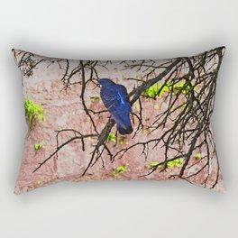 Blue Pigeon Pink Wall Bare Tree Rectangular Pillow