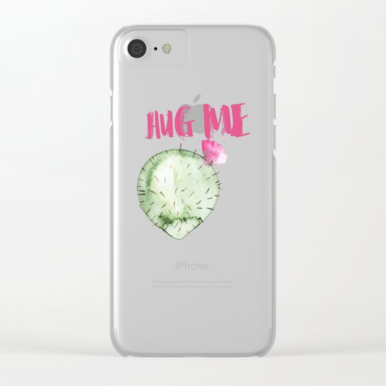Hug me- Cactus and typography and watercolor Clear iPhone Case