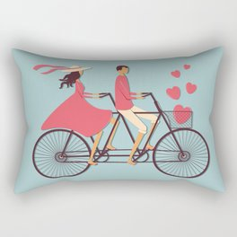 Love Couple riding on the bike Rectangular Pillow