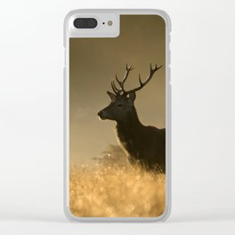 Red deer in the mist Clear iPhone Case