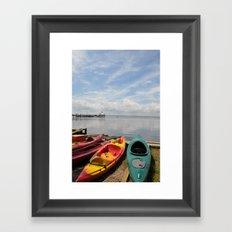 Bay Landscape with Canoe  Framed Art Print