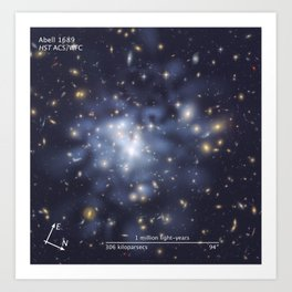 Hubble Space Telescope - Compass and scale image for Abell 1689 dark matter map Art Print