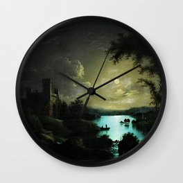 Classical Masteripiece 'A Castle and Lake by Moonlight' by Abraham Pether Wall Clock