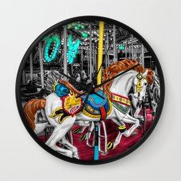 Colorful Carousel Horse at Carnival Wall Clock