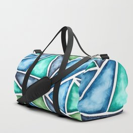 Large scale fragmentation. Watercolor triangles. Duffle Bag