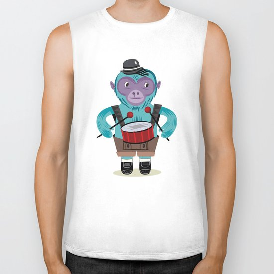 The Monkey Drummer Biker Tank