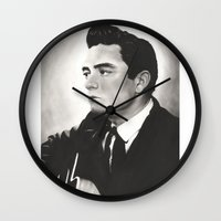 johnny cash Wall Clocks featuring Johnny Cash by bellevuetriangle