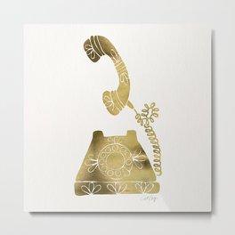 Vintage Rotary Phone – Gold Palette Metal Print