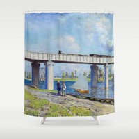 monet Shower Curtains featuring Claude Monet - Bridge by Elegant Chaos Gallery