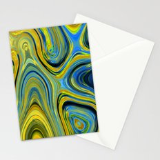 Liquid Yellow And Blue Stationery Cards