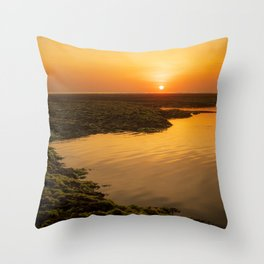 Sunset during low tide at Melasti beach in Bali Throw Pillow