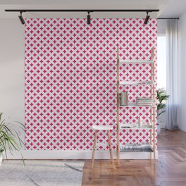 Small Hot Neon Pink Crosses on White Wall Mural