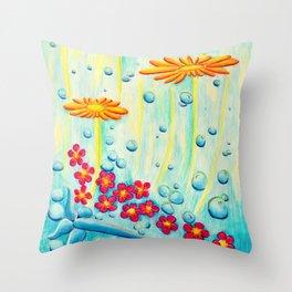 Aqua Fleur - Mazuir Ross Throw Pillow