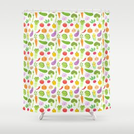 Happy Veggies Shower Curtain
