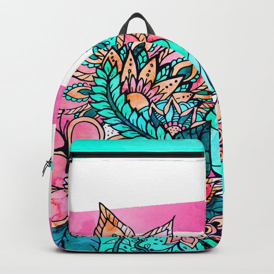 Floral watercolor modern pink teal stripes Backpack