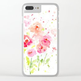 Watercolor Pink Poppies Clear iPhone Case