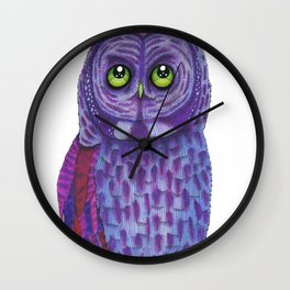 The Great Gray Purple Owl, A Key Holder And Protector Of The Mice Kingdom Wall Clock