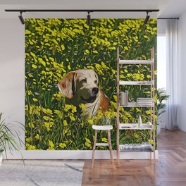 beagle dog flower field vector art Wall Mural