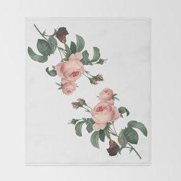 Butterflies in the Rose Garden on White Throw Blanket