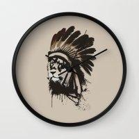 headdress Wall Clocks featuring Lion Headdress by Alyn Spiller