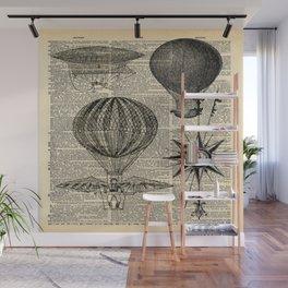 newspaper print victorian steampunk airship plane hot air balloon Wall Mural
