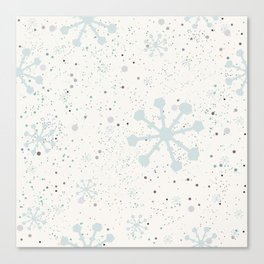 Cute Seamless Winter Pattern with subtle snowflakes Canvas Print