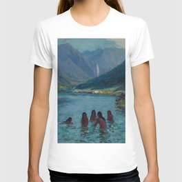 Woman Night Swimming at Blue Lagoon Swimming Hole, Hawaii landscape painting by Lionel Walden T-shirt