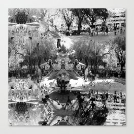 Summer space, smelting selves, simmer shimmers. [extra, 8, grayscale version] Canvas Print