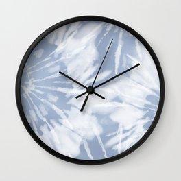 blue grey soft tie dye Wall Clock