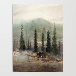 Mountain Black Bear Poster