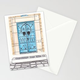 Blue Door with Black Decorations Stationery Cards