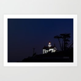 Battery Point Lighthouse in the night's blue cloak. Crescent City, California Art Print