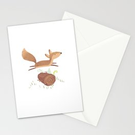 Fox Jumped Over the Log Stationery Cards