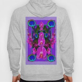 Colorful  Fuchsia-Purple-Pink Orchids Peacock Blue Eyes Art Hoody