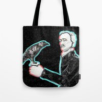 edgar allen poe Tote Bags featuring Poe by Beastie Toyz