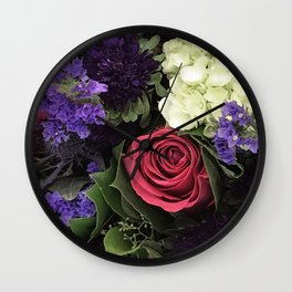 French Lavender and Red Rose Floral Bouquet Wall Clock