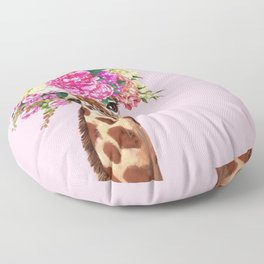 Flower Crown Baby giraffe in Pink Floor Pillow