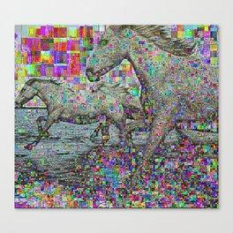 wild glitch horses Canvas Print
