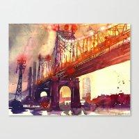 Canvas Prints featuring Queensboro Bridge by takmaj