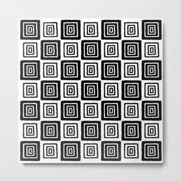 Mid Century Modern Geometric Checker 821 Black and White Metal Print