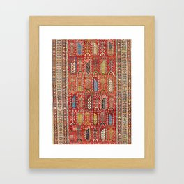 Shirvan Caucasian Antique Carpet Framed Art Print