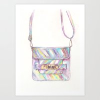 holographic Art Prints featuring holographic bag by Aya Kirya