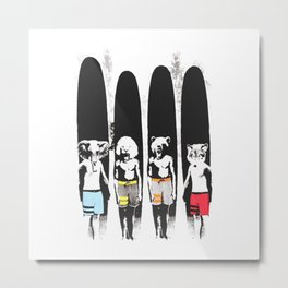 Animal Friends Surfer Club Metal Print