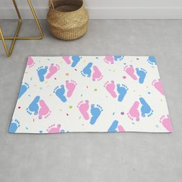 Pink and Blue Colored Baby Foot Prints With Confetti and Balloons Pattern Rug