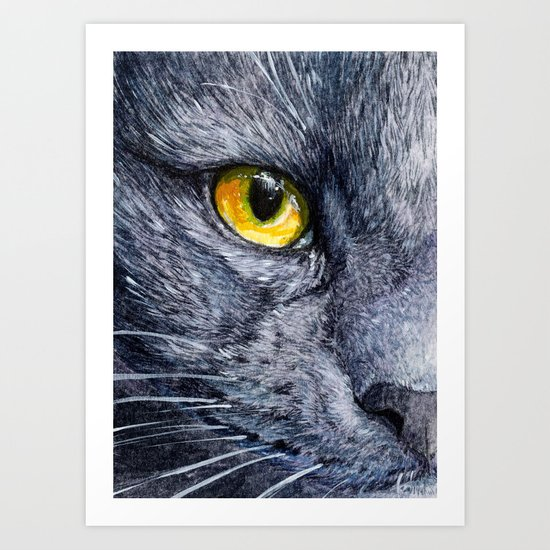 Grey cat 258 Art Print