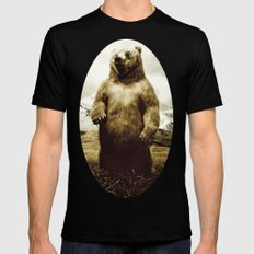 Bear in mountain landscape Black Mens Fitted Tee LARGE