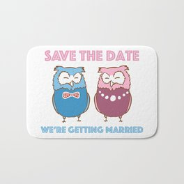 Save The Date (Owls In Love) Bath Mat