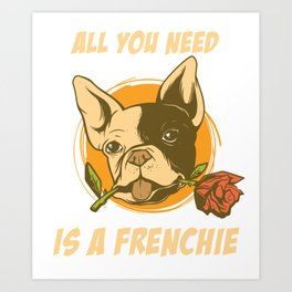 Frenchie t-shirt walking outfit dog owner gift Art Print