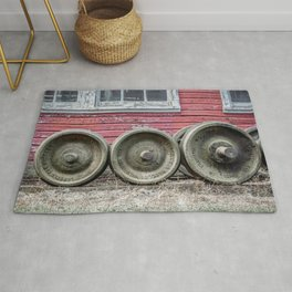 Train Wheelsets in East Broad Top Service Yard Railroad Boxcar Wheels Color Version Rug